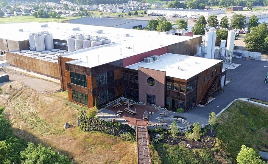 Aerial shot of the brewery and distribution facility in downtown Richmond