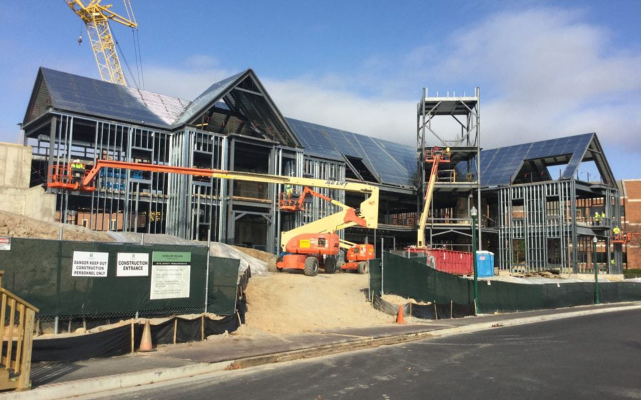 Construction photo of the Queally Center at University of Richmond