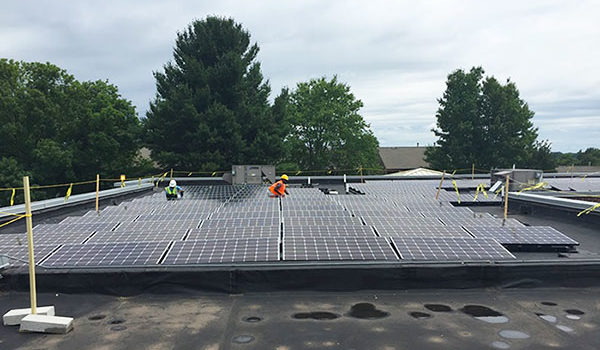 Solar PV system rooftop located in Lynchburg Virginia