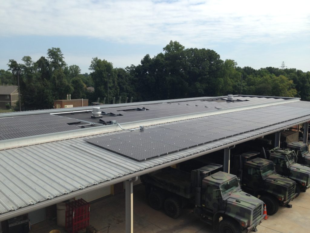 Solar Car Port roof mounted PV system at the Marine Forces Reserves