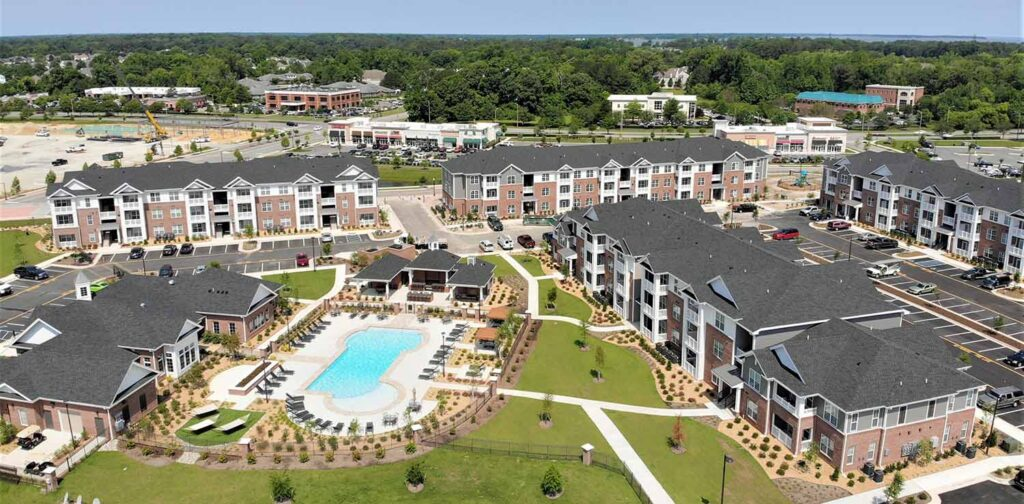 Image of the Clairmont at Harbour View Station apartments completed by the NCI multifamily team.